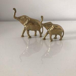 2pc Vintage Brass Elephant